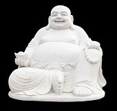stock photo of budha  - Smiling Big Buddha Statue isolated With clipping path - JPG