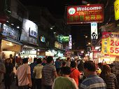 Pedestrians Shop At  Fengjia Night Market In Taichung, Taiwan