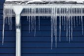 foto of downspouts  - Icicles on the roof - JPG