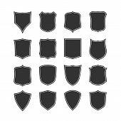 Big set of blank, classic shields.