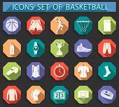 foto of basketball  - Basketball icon set  - JPG