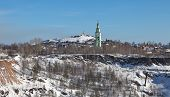 Holy Trinity Church and Tower edinovercheskie on Fox (Bald) hill. Nizhny Tagil. Sverdlovsk region.