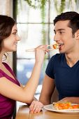 Couple Eating Sushi.