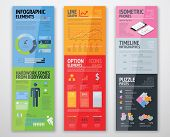 Colorful infographics in well arranged templates ready for use