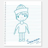 boy on a notebook sheet