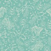 Seamless pattern with beetles, butterflies, grasshoppers and flowers