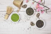 stock photo of black tea  - Different types of Japanese green tea leaves and powder green tea - JPG