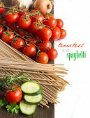 Spaghett, Herbs, Zucchinii And Tomatoes