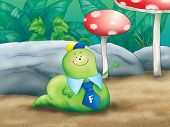 picture of maggot  - Digital illustration of smiling funny cartoon worm weaving - JPG