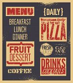 Retro typographic restaurant menu design. Vector illustration.