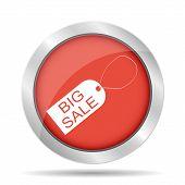 Big Sale Tag Icon, Vector Illustration. Flat Design Style