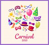Illustration festive banner with carnival colorful icons  vector