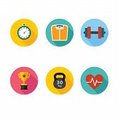 Healthy lifestyle flat round icon set. Vector illustration.