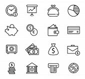 Finance and bank Icon Set.
