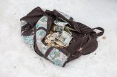Bag With Russian Money Lying On The Snow