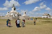 People visit Erdene Zuu monastery in Kharkhorin, Mongolia.