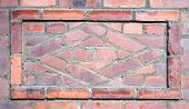 Brick wall pattern vintage design with frame