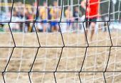 Beach soccer net closeup