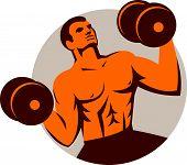 Strongman Crossfit Lifting Dumbbells Circle Retro
