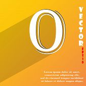 Number Zero Icon Symbol Flat Modern Web Design With Long Shadow And Space For Your Text. Vector