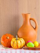 Still Life With Jug,  Pumpkins And Easter Eggs