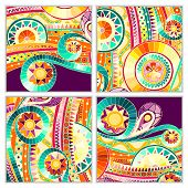 foto of batik  - Set of four abstract doodle ethnic tribal hand drawn vector cards on wood background - JPG
