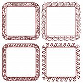 Set of Brown Openwork Square Vector Frames For Design