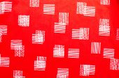 Red Fabric With Line Squares.