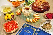 foto of israel israeli jew jewish  - Table set for the new Jewish year greetings - JPG