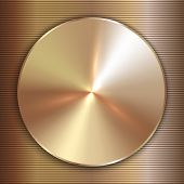 Vector precious metal round golden plate with line backgound