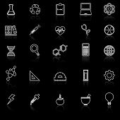 Science Line Icons With Reflect On Black Background