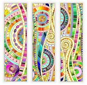 stock photo of batik  - Set of three abstract doodle ethnic tribal hand drawn vector cards on wood background - JPG