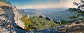 pic of crimea  - Scenic panorama from the top of a steep crag in Yalta Crimea - JPG