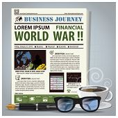 Business Journey Newspaper Lay Out With Pen, Glasses, Coffee
