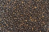 Background of the roasted coffee beans brown