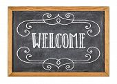 Sign on a white background with the text Welcome