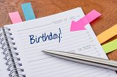 A daily planner with the entry Birthday