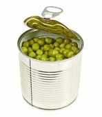 foto of green pea  - Metal can full of green peas isolated over white background - JPG