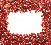 Copyspace frame made of pomegranate seeds