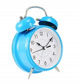 Blue alarm clock isolated