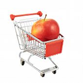 Red apple in a shipping cart