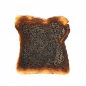 Burnt toast bread isolated
