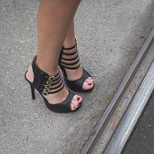 Detail Of Female Shoes Outside Gucci Fashion Show Building For Milan Women's Fashion Week 2015