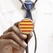 Stethoscope With National Flag Conceptual Series - Catalonia - Spain