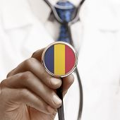 stock photo of chad  - Stethoscope with national flag conceptual series  - JPG