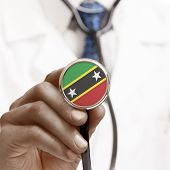 Stethoscope With National Flag Conceptual Series - Saint Kitts And Nevis - Federation Of Saint Chris