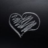 Heart symbol on the blackboard