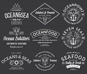 Seafood Labels And Badges Vol. 3 White On Black