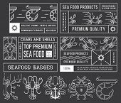 Seafood Labels And Badges Vol. 4 White On Black