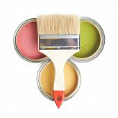 picture of foreshortening  - Wide brush over three cans of paint - JPG